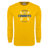 Gold Long Sleeve T Shirt-Baseball Seams Design