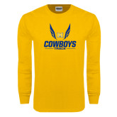 Gold Long Sleeve T Shirt-Track Wings Design