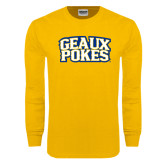 Gold Long Sleeve T Shirt-Geaux Pokes Stacked