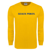 Gold Long Sleeve T Shirt-Geaux Pokes Flat
