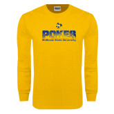 Gold Long Sleeve T Shirt-Pokes Splatter Design