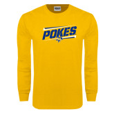 Gold Long Sleeve T Shirt-Pokes Fancy Lines Design