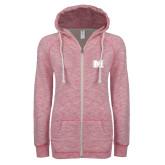 ENZA Ladies Hot Pink Marled Full Zip Hoodie-M