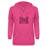 ENZA Ladies Hot Pink V Notch Raw Edge Fleece Hoodie-Primary Mark Glitter