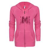 ENZA Ladies Hot Pink Light Weight Fleece Full Zip Hoodie-Primary Mark Glitter
