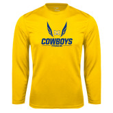 Syntrel Performance Gold Longsleeve Shirt-Track Wings Design