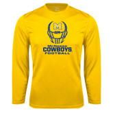 Syntrel Performance Gold Longsleeve Shirt-Football Helmet Design