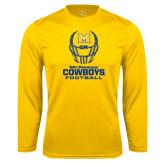 Performance Gold Longsleeve Shirt-Football Helmet Design