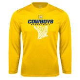 Syntrel Performance Gold Longsleeve Shirt-Basketball Net Design