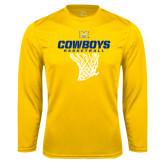 Performance Gold Longsleeve Shirt-Basketball Net Design