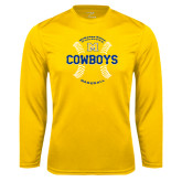 Performance Gold Longsleeve Shirt-Baseball Seams Design