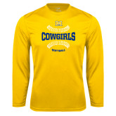 Syntrel Performance Gold Longsleeve Shirt-Softball Seams Design