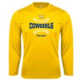 Performance Gold Longsleeve Shirt-Softball Seams Design