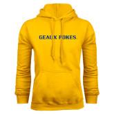Gold Fleece Hoodie-Geaux Pokes Flat