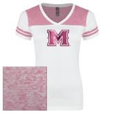 Ladies White/Bright Pink Juniors Varsity V Neck Tee-M Engraved