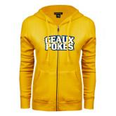 ENZA Ladies Gold Fleece Full Zip Hoodie-Geaux Pokes Stacked