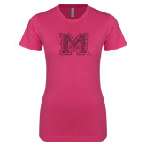 Next Level Ladies SoftStyle Junior Fitted Fuchsia Tee-Primary Mark Glitter
