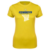 Ladies Syntrel Performance Gold Tee-Basketball Net Design