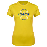 Ladies Syntrel Performance Gold Tee-Baseball Seams Design