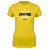 Ladies Syntrel Performance Gold Tee-Softball Seams Design