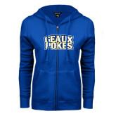 ENZA Ladies Royal Fleece Full Zip Hoodie-Geaux Pokes Stacked