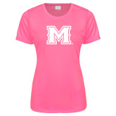 Ladies Performance Hot Pink Tee-M