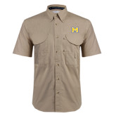 Khaki Short Sleeve Performance Fishing Shirt-M