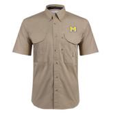 Khaki Short Sleeve Performance Fishing Shirt-M