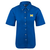 Ladies Royal Twill Button Up Short Sleeve-M