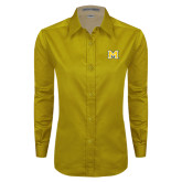 Ladies Gold Twill Button Down Long Sleeve-M