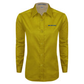 Ladies Gold Twill Button Down Long Sleeve-McNeese