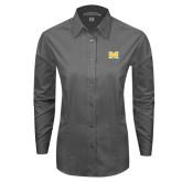 Ladies Grey Tonal Pattern Long Sleeve Shirt-M