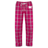 Ladies Dark Fuchsia/White Flannel Pajama Pant-M