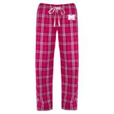 Ladies Dark Fuchsia/White Flannel Pajama Pant-M