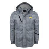 Grey Brushstroke Print Insulated Jacket-M