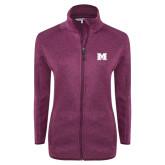 Dark Pink Heather Ladies Fleece Jacket-M