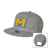 Heather Grey Wool Blend Flat Bill Snapback Hat-M
