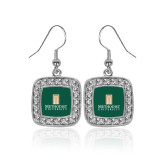 Crystal Studded Square Pendant Silver Dangle Earrings-Primary Instituational Logo