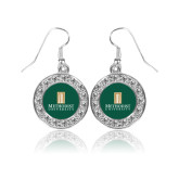 Crystal Studded Round Pendant Silver Dangle Earrings-Primary Instituational Logo