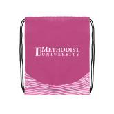 Nylon Zebra Pink/White Patterned Drawstring Backpack-Official Artwork