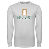 White Long Sleeve T Shirt-Primary Instituational Logo