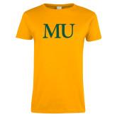 Ladies Gold T Shirt-MU Lettermark