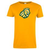 Ladies Gold T Shirt-Lion Head