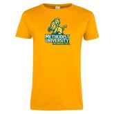 Ladies Gold T Shirt-Methodist University Monarchs