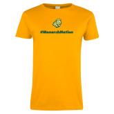 Ladies Gold T Shirt-Monarch Nation