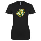 Next Level Ladies SoftStyle Junior Fitted Black Tee-Lion Head