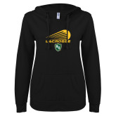 ENZA Ladies Black V Notch Raw Edge Fleece Hoodie-Lacrosse