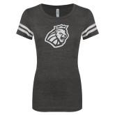ENZA Ladies Black/White Vintage Football Tee-Lion Head White Soft Glitter