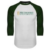 White/Dark Green Raglan Baseball T Shirt-Official Artwork