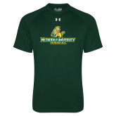 Under Armour Dark Green Tech Tee-Methodist University Monarchs